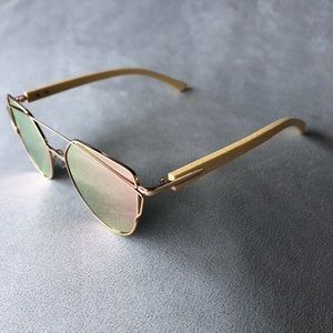 Pink Lenses with Gold-Tone Frames and Wood Arms